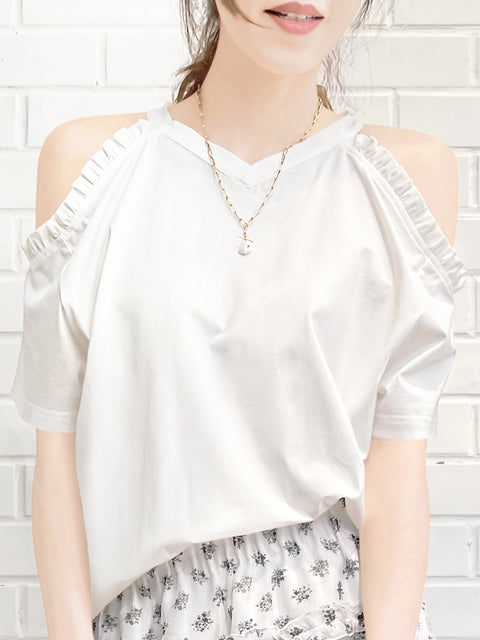 White Ruffle Off the Shoulder Cotton Blend Tee