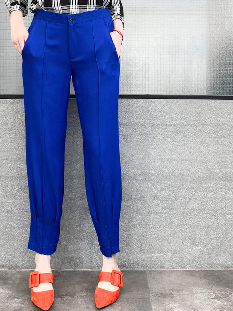Final Sale! Electric Blue Relaxed Straight Leg Seam Detail Pants