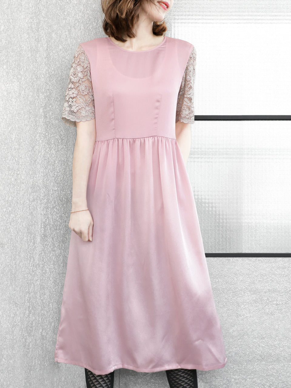 Final Sale! Light Pink Lace Sleeves Contrast Satin Midi Dress