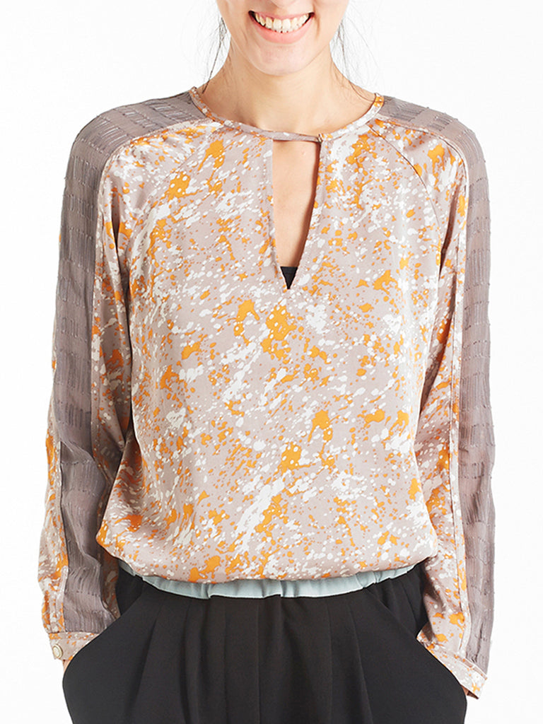 Final Sale! Abstract Ink Stroke Printed Keyhole Silk Blouse