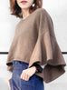 Surprise Sale! Ruffled Bell Sleeve Cashmere Crop Boat-neck Sweater