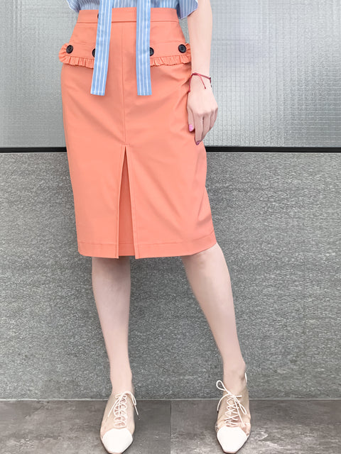 Last Chance! Carol Pink Ruffle Trim Pocket Pencil Skirt