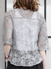 Further Sale! Grey-Silver Floral Lace Cropped Peplum Blouse