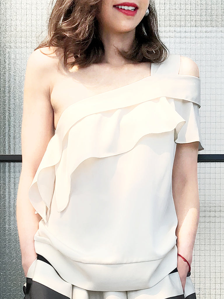 Further Sale! Ivory White One-Shoulder Draped Ruffle Blouse
