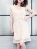 Final Sale! Ivory Batwing Embroidery Lace Faille Dress