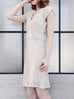 Further Sale! Ivory Batwing Floral Lace Faille Dress
