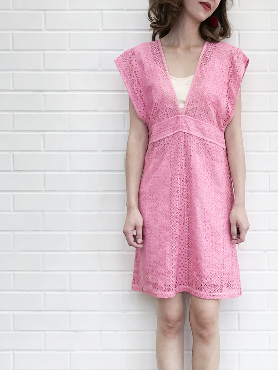 Final Sale! Pink Batwing Intricate lace Faille Dress