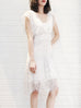 Final Sale! White Batwing Eyelash Lace Faille Dress