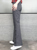 Washed Grey Black Denim Flare Leg Pull On Button Pants