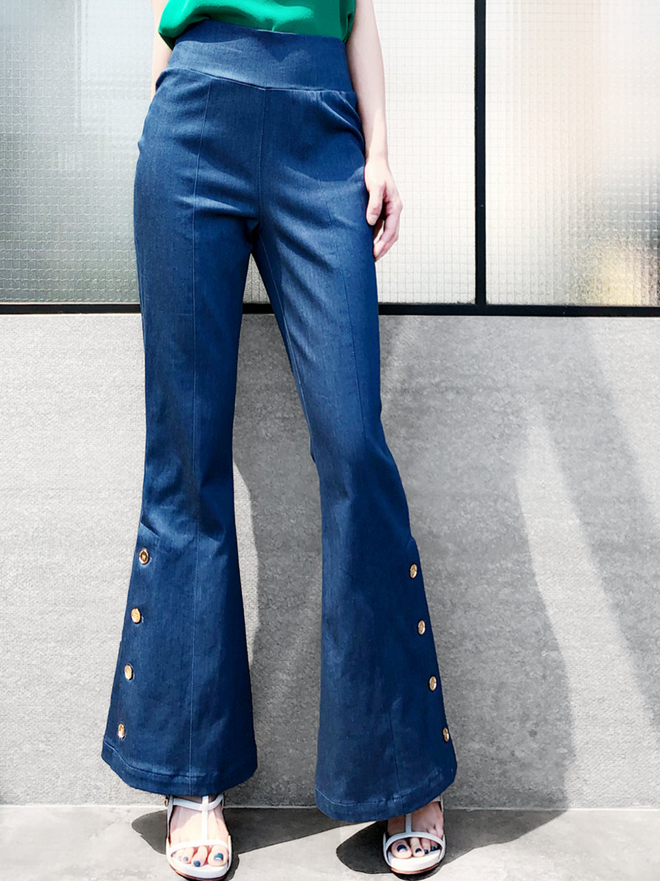 Surprise Sale! Dark Blue Denim Flare Leg Pull On Button Pants