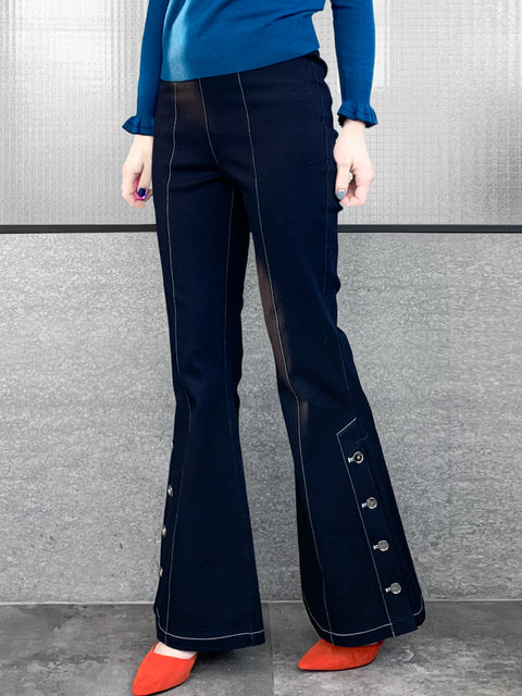 Dark Blue Denim White Stitches Flare Leg Pull On Button Pants