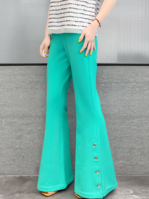 Mint Green Flare Leg Pull On Button Pants