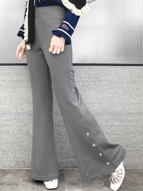 Medium Grey Flare Leg Pull On Button Pants