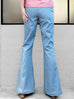 Last Chance! Light Blue Denim Flare Leg Pull On Button Pants