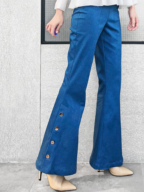 Surprise Sale! Medium Blue Denim Flare Leg Pull On Button Pants