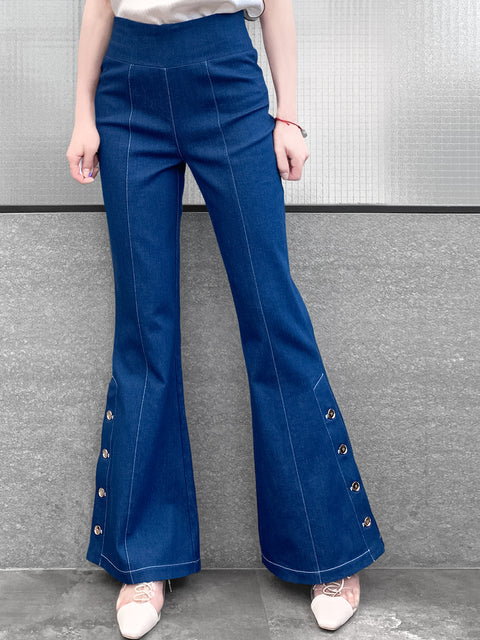 Medium Blue Denim White Stitches Flare Leg Pull On Button Pants