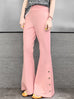 Baby Pink Flare Leg Pull On Button Pants