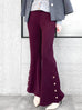 Plum Red-Purple Flare Leg Pull On Button Pants
