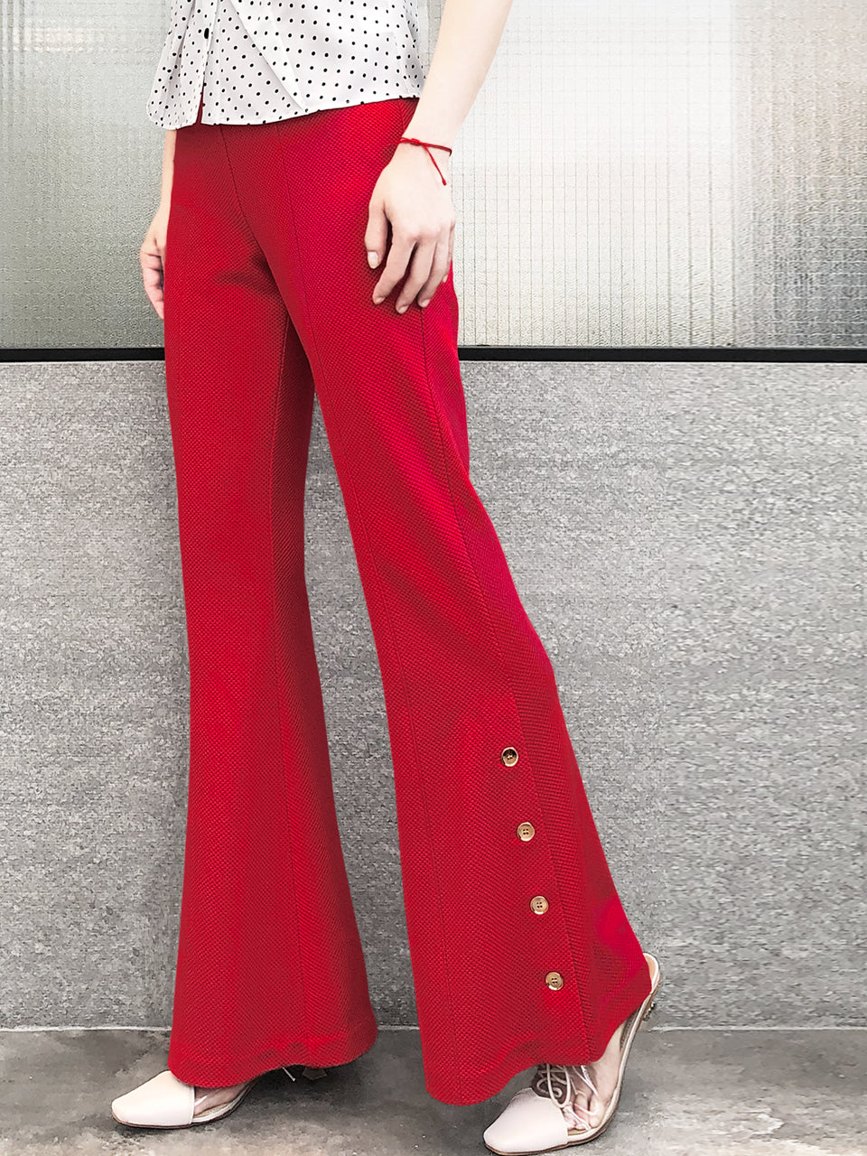 Rose Red Flare Leg Pull On Button Pants