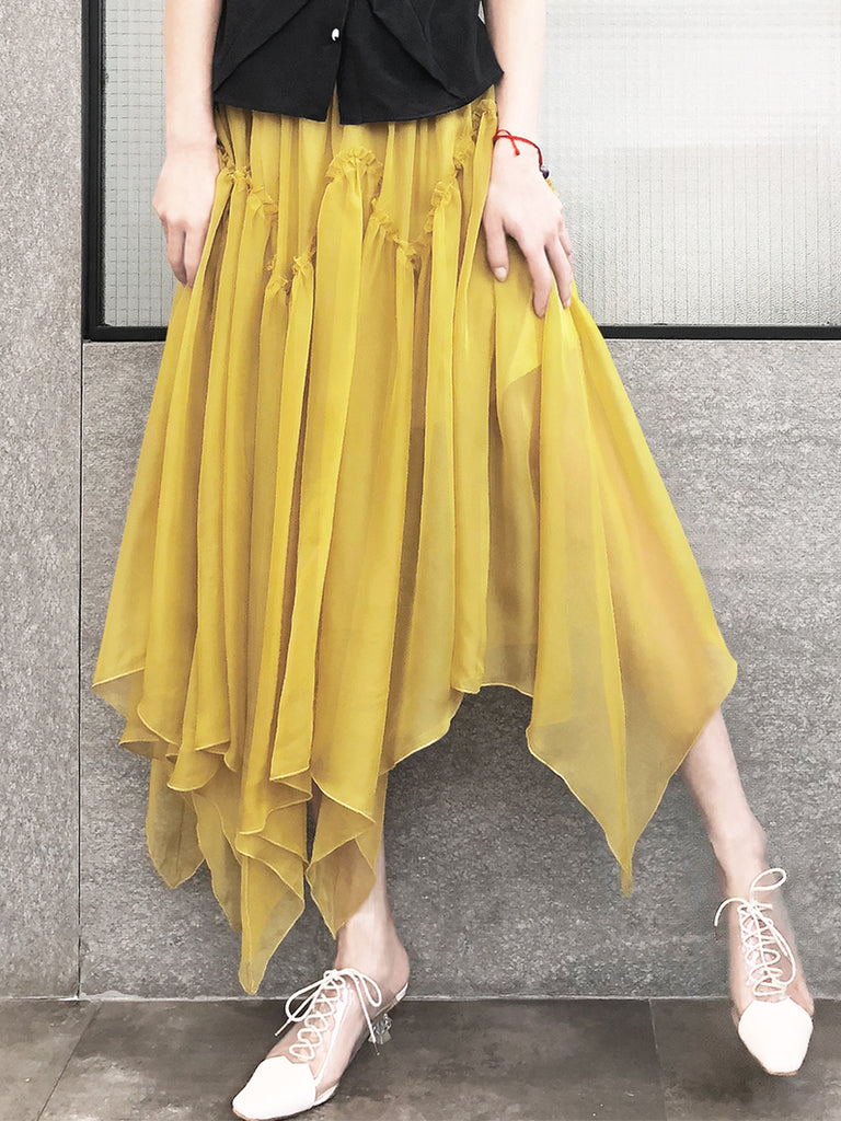 Muddy Yellow Handkerchief Hem Chiffon Lightweight Skirt