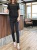 Further Sale! Black Side Ribbed Trims Skinny Trousers
