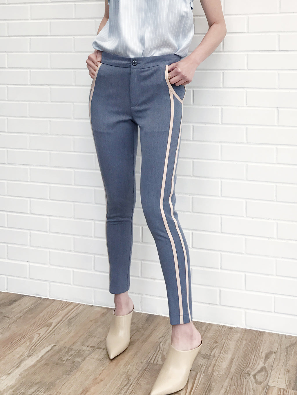 Further Sale! Grey Side Ribbed Trims Skinny Trousers