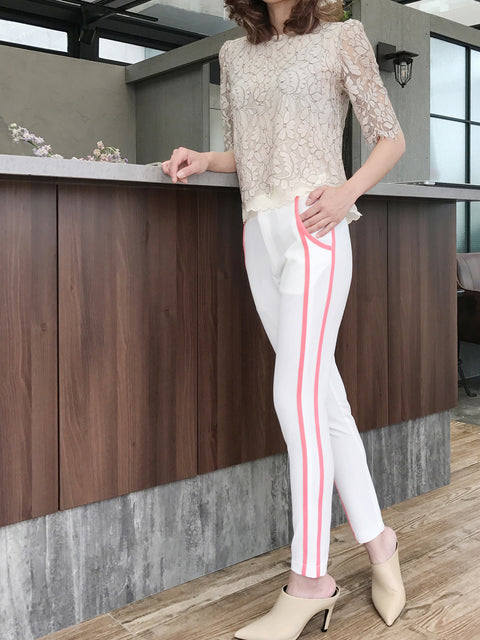 Further Sale! White Side Ribbed Trims Skinny Trousers