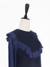 Further Sale! Navy Patchy Fabric Wool Yoke Top