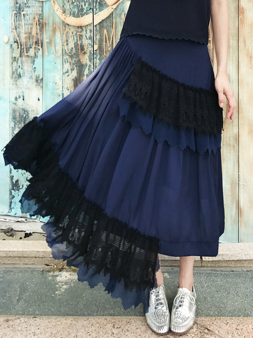 Last Chance! Navy Ruffled Asymmetrical Lace Patch Skirt