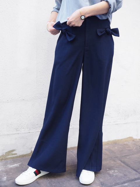 Further Sale! Navy Pleated Flare Cuffs Trousers
