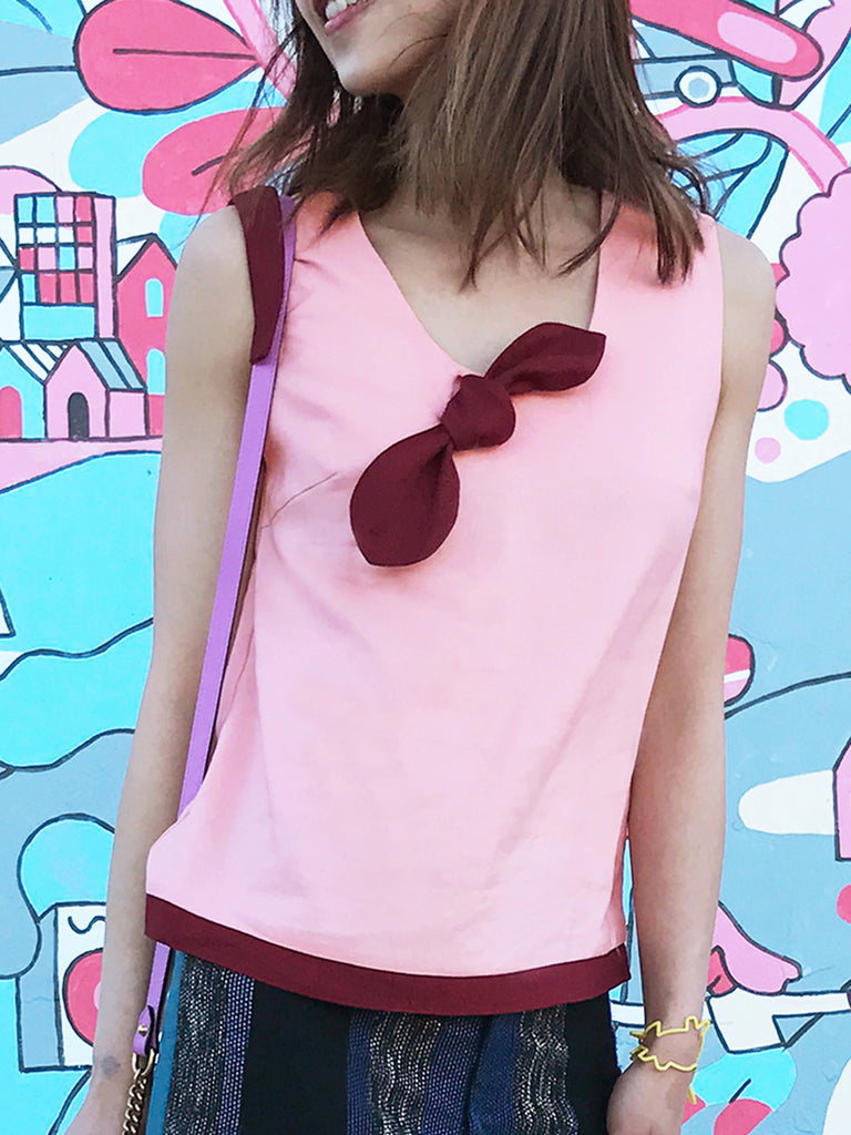 Final Sale! Sweetie Pinky-Burgundy Bow Top
