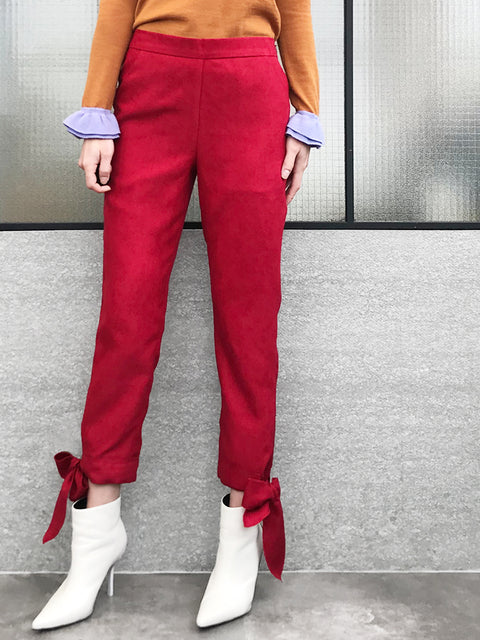 Final Sale! Red Tie Bow Detail Stretch Ankle Trousers