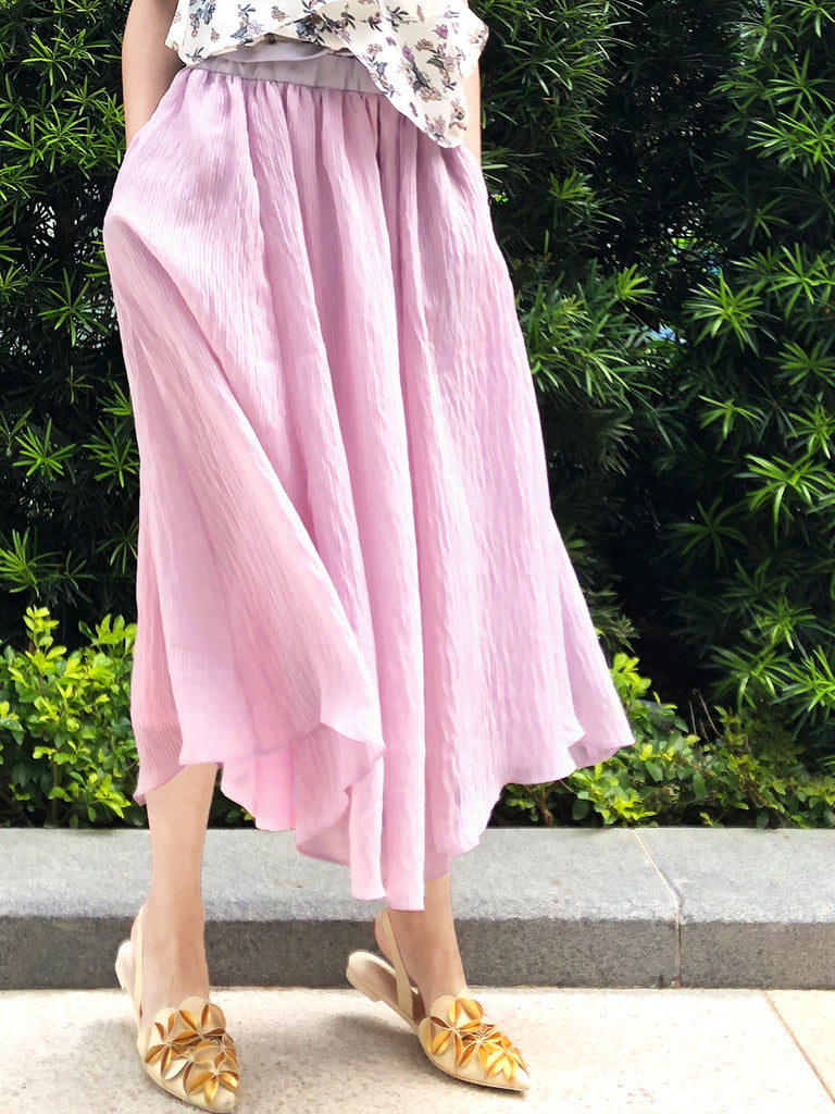 Surprise Sale! Pinky Purple Texture Stripe Paper Bag Waist Midi-Skirt