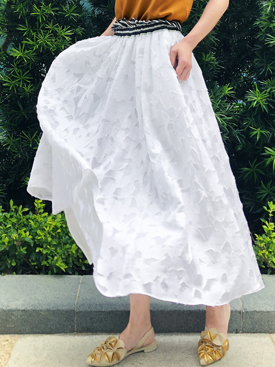 Surprise Sale! White Mix Texture Patterned Paper Bag Waist Midi-Skirt