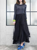 Last Chance! Layer Textured Black Tulle Maxi Skirt