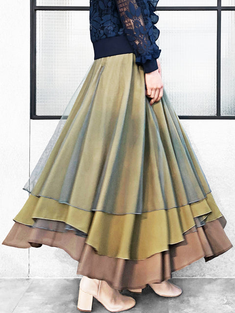 Romantic Classic! Layer Textured Army Green Tulle Maxi Skirt
