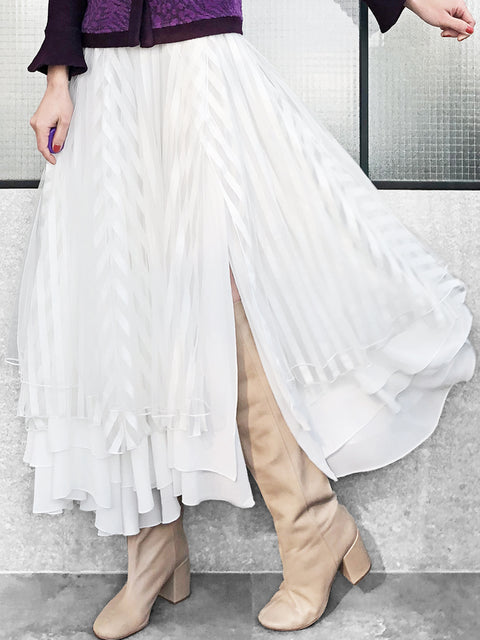 Romantic Classic! Layer Textured White Tulle Maxi Skirt