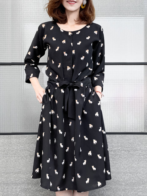 Black Bulldog Print Tie-Bow Half Placket Midi Dress