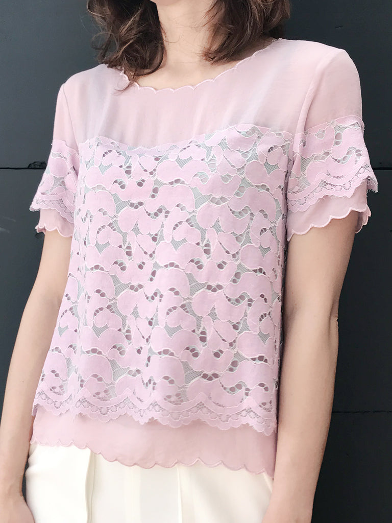 Further Sale! Pink City Chic Lace Scallop Layered Top