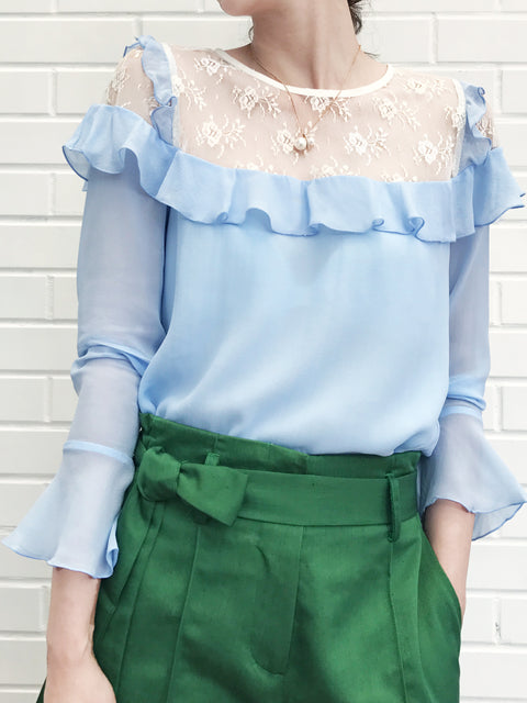 Further Sale! Baby Blue Lace Shoulder Ruffle Silky Blouse