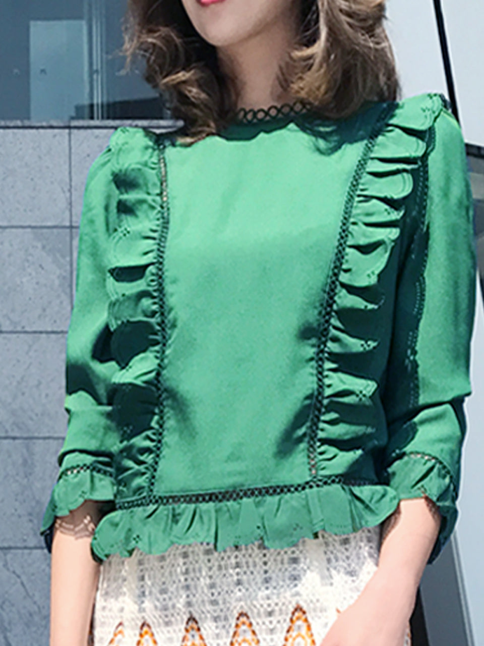 Further Sale! Pine Green Open-Work Slim Silhouette Ruffle Blouse