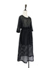 Further Sale! Black Sheer Geometric Lace Batwing Dress