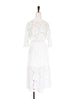 Further Sale! White Organza Floral Lace Batwing Dress