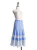 Further Sale! Blue Stripe Embroidered Lace Ruffle Midi Skirt