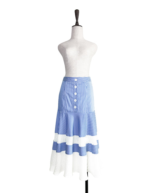Further Sale! Blue Stripe Geometric Lace Ruffle Midi Skirt