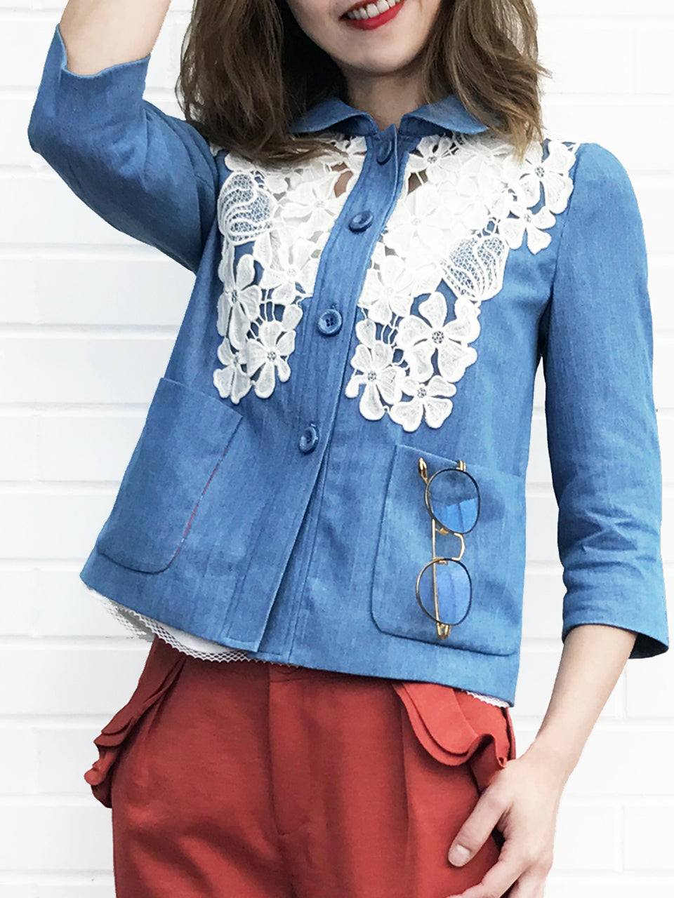 Further Sale! Denim Lace Trim Textured Jacket