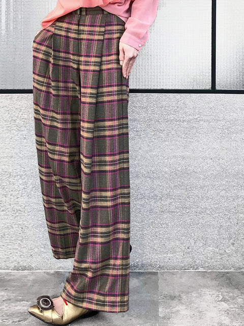 Mixed Purplish Check Wide Leg Wool Trousers
