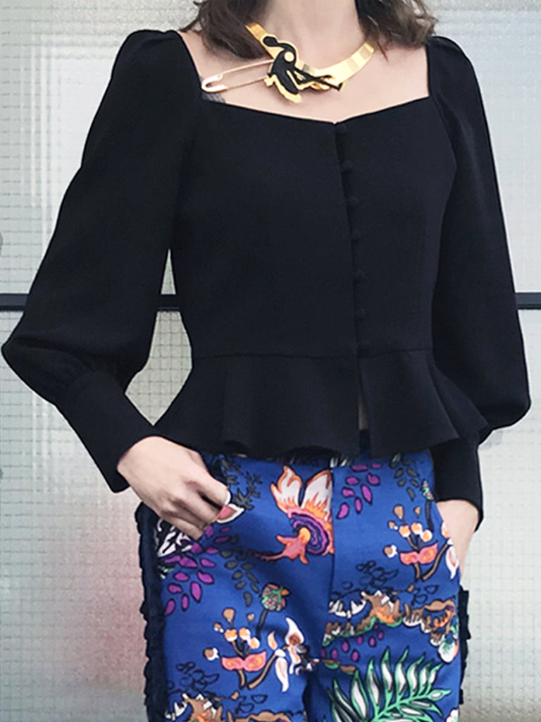 Further Sale! Black Puff Sleeve Swingy Peplum Top