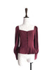 Further Sale! Burgundy Puff Sleeve Swingy Peplum Top