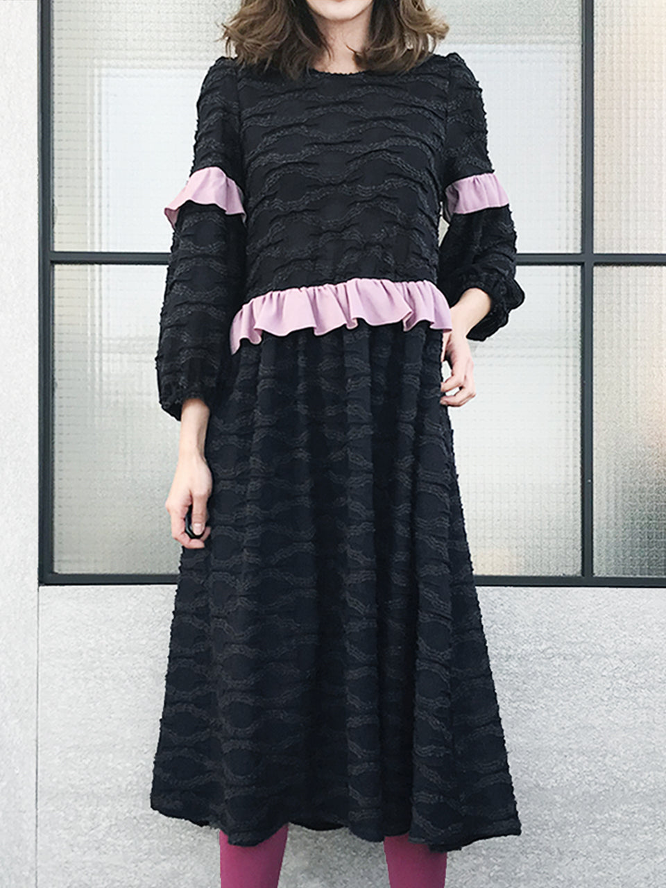 Further Sale! Textured Knit Blousy Sleeves Ruffle Dress
